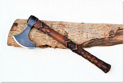 High Carbon Steel Viking Ax/Axe With Wood Handle