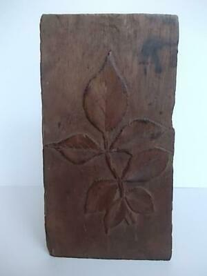 283 / Antique Hand Carved Mahogany Ornament Hand Carved With Rose Bush Leaves