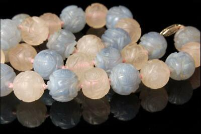 Antique Chinese Carved Rose Blue Agate Shou Beads 14K Gold Necklace D121-03