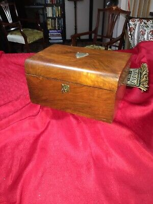 Wooden Box:A Lovely Victorian Period Walnut Sewing Box Or Jewellery Box With Key