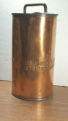 Antique Bright Brass HAND RED FLARE DISTRESS SIGNAL CANISTER from USS BRITIAN