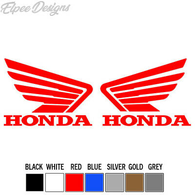 Honda Wings Black//White Sticker Decal Vinyl Motorbike 100mm x2 Motorcycle