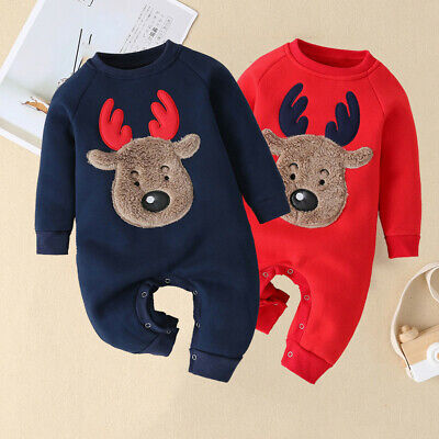 Infant Baby Boys Girls Christmas Xmas Fawn Print Thick Romper Jumpsuit Outfit US