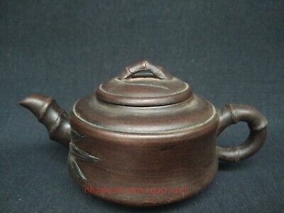Exquisite Collecting Old China Yi Xing Purple Clay Handmade Bamboo Teapot Pot