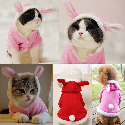 Pet Cat Small Dog Puppy Rabbit Christmas Holiday Winter Coat Hoodie Jacket
