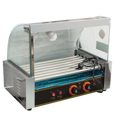 USA Commercial 18 Hot Dog Grill Cooker Machine Stainless steel 7 Roller W/ cover