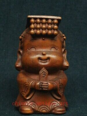 Collect Ancient China Boxwood Wood Hand Carved Happy Buddha Statue Decoration