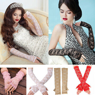 Women Sexy Arm Elbow Gloves Sexy Long Lace Gloves Fingerless Mittens Gloves NEW