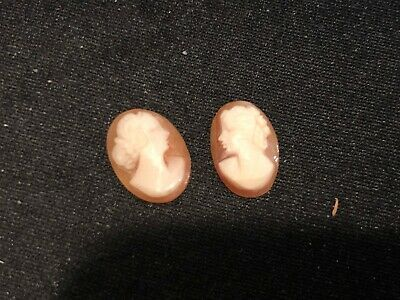 Antique Pair of Hand Carved Shell Cameos