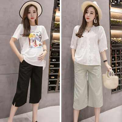Ladies Pregnant Maternity Wide Leg High Waist Pants Loose Trouser Casual Summer