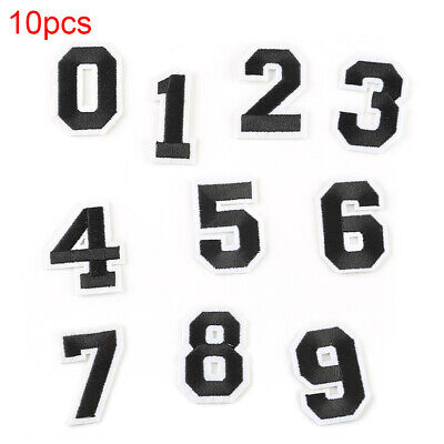 10Pc Set Numbers 0-9 Sew Iron on Patch Embroidered Applique Alphabet Badge Newly