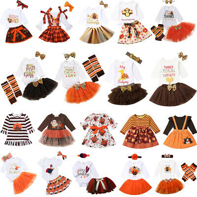 Thanksgiving Kid Baby Girl Clothes Romper Tops Bownknot Skirt Dress Party Outfit