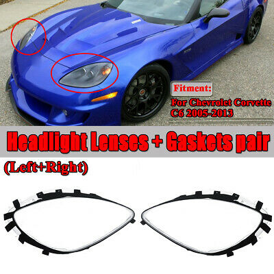 Pair Head Light Lenses Replacement Covers + Gaskets For 2005-2013 C6 Corvette
