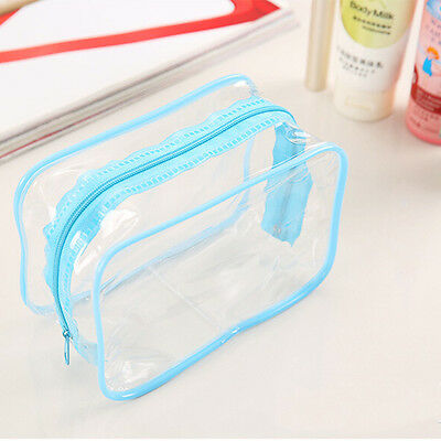 Clear Transparent Plastic PVC Travel Makeup Cosmetic Toiletry Zip Bag Pouch   xl