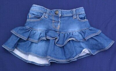 NUTMEG Baby Blue Denim Elasticated Frilly Skirt Cotton Blend 12 - 18 Months