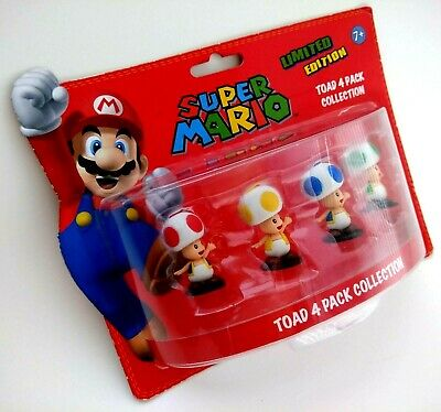 Super Mario Toad Figures Red Blue Green Yellow Nintendo 4 Pack Collection V Rare