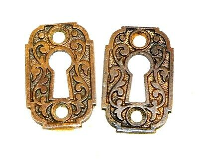 Antique Brass Key Escutcheons Eastlake Style Key Hole Cover Door Hardware PAIR