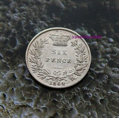 1864 Queen Victoria Silver Sixpence 6d British English 92.5% silver Die 17
