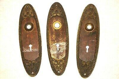Antique Brass Door Knob Face Plates Cover Ornate Hardware Eastlake Style