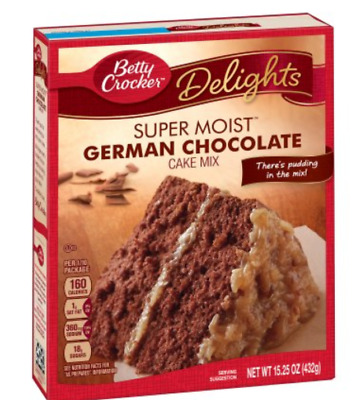 Betty Crocker Cake Mix Super Moist Delights German Chocolate Pudding in the mix