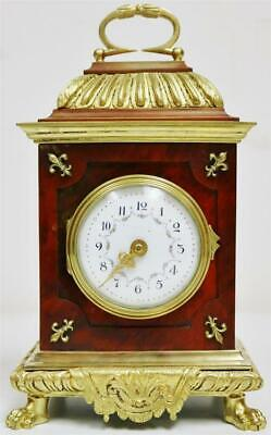Glorius Antique French 8 Day Red Shell & Ormolu Bronze Caddy Top Carriage Clock