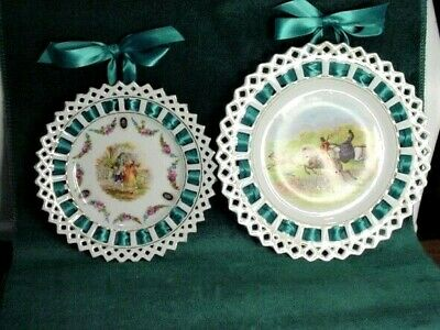 2  Antique Germany Porcelain Open Lace Edge Satin Ribbon Hanging Plates
