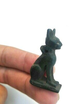 Vintage Style Egyptian Cat Statue Antique Figurine Ancient green jasper stone