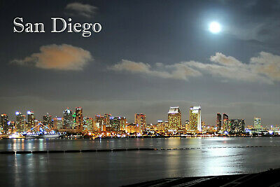 California Travel Souvenir Flexible Fridge Magnet SAN DIEGO night