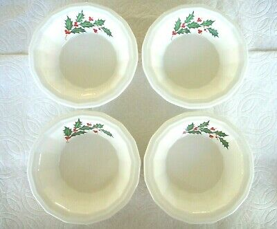 Vintage Antique HOMER LAUGHLIN Lot 4 Fruit Bowls Holiday Christmas Holly