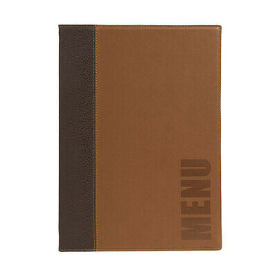 Trendy Light Brown Leather Style A5 Restaurant Menu Holder / Menu Cover