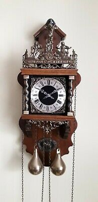 Vintage Wall Clock Dutch Warmink Wuba With Bell Chimes And Key Wound Mechanism
