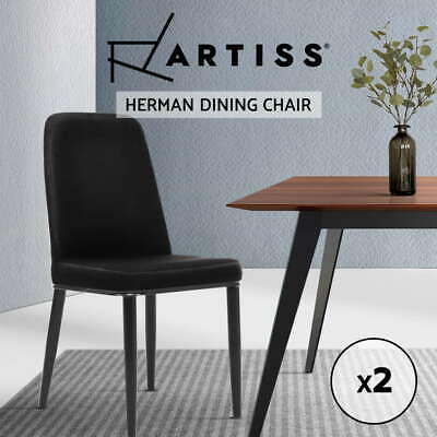 Artiss Dining Chairs Replica Kitchen Chair Black Fabric Padded Retro Iron Leg x2