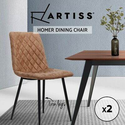 【20%OFF】Dining Chairs Replica Kitchen Chair PU Leather Padded Retro Iron Legs x2