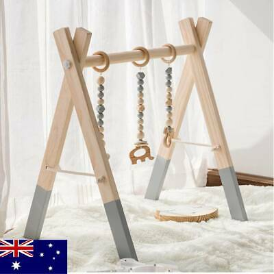 Nordic Wooden Baby Gym with Rattles Play Toy Activity Frame Kids Room Decor Gift
