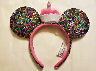 Disney Parks Minnie Mickey Mouse Ears Headband Birthday Cupcake Confetti