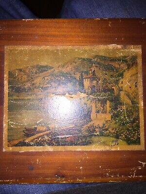 Vintage Wooden Jewelry Brass Hinges Pencil Treasure Box 1930-50 Has Old Painting