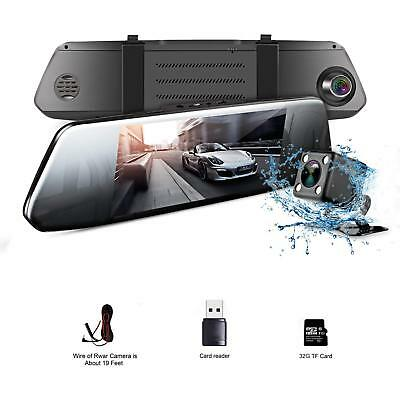 "1080P HD 7"" Inch Full Rear View Mirror Dash Car Reverse Camera Kits Double Cam"
