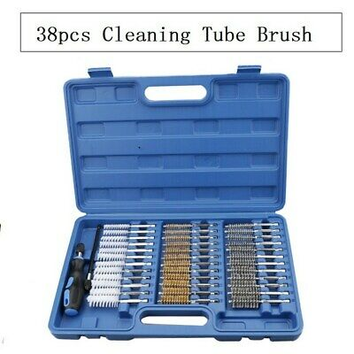 38pc Industrial Quality Wire Brush Set Extra Long Reach Clean Pipe Abrasives Kit