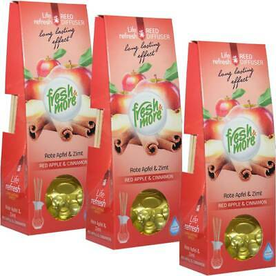 3x Fresh & the More Fragrance Vase Red Apfel&zimt with Natural Sticks, (3x 35ml)