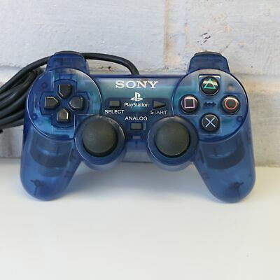 Official Transparent Clear Blue Sony Ps1 Playstation Psone Controller Pad