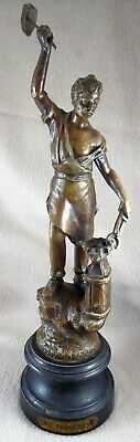 """Le Forgeron Bronzed Spelter Figurine on Plinth (13.5"""" Tall)"""