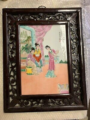 Large Antique Asian Chinese Hand Painted Porcelain Tile Painting Plaque
