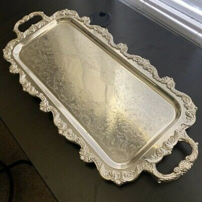 Towle Silverplate Footed Handle Serving Tray Platter Mid Century Ornate Silver