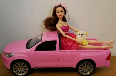 Monster Truck Pickup Car Doll With Dog Toy Dolls & Girls Pink Play Set Toys
