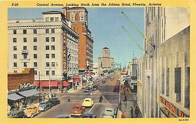Phoenix Arizona 1940s Postcard Central Avenue Hotel Valley National Bank