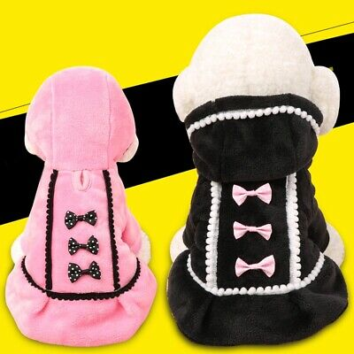 Pet Dogs Winter Hoodies Coat Jacket Puppy Hooded Bowknot Fleece Sweater Clothes