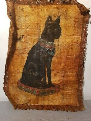 Rare Antique Ancient Egyptian papyrus God Bastet Black Cat protection1750-1670BC