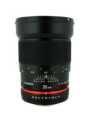 Rokinon 35mm F/1.4 AS UMC Wide Angle Lens for Nikon with Automatic Chip RK35M...