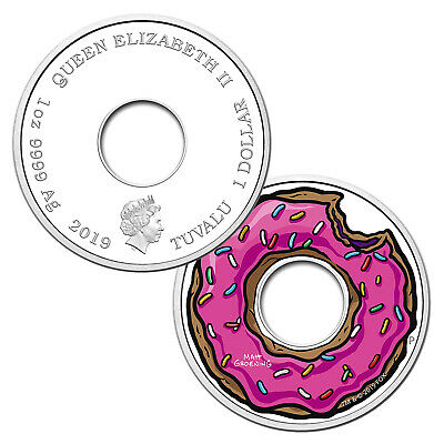 2019 Tuvalu $1 - 1 oz .9999 Silver The Simpsons Donut Proof