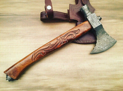 Custom Handmade Damascus Steel Tomahawk Viking Axe - Engraved Wood Handle
